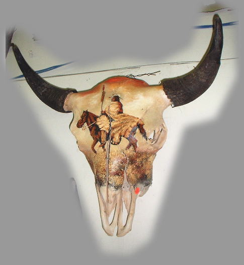 Pictures of Painted Cow Skulls http://www.elpasorugs.com/cow_skulls.htm
